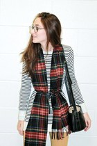 red Hunter boots - striped sweater American Apparel dress