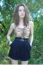 beige Victorias Secret top - blue escada shorts - black vintage belt - black unk