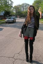 red dollar store tights - black Urbanogcom boots - white pinkish shirt