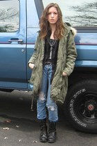olive green H&M coat - sky blue hollister jeans - black peck&peck shirt - black