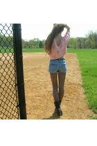pink vintage shirt - blue Old Navy shorts - brown Urbanogcom tights - black vint