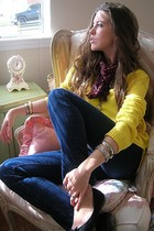 yellow Newport News sweater - blue Express jeans - red vintage scarf - black R2