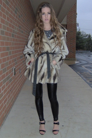 beige vintage coat - black Forever 21 leggings - black LEI shoes - silver vintag