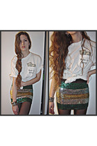 white vintage t-shirt - green unknown brand skirt - black Forever 21 tights - si