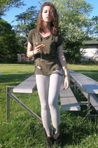 green DIY t-shirt - gray Forever 21 leggings - black vintage boots - silver vint