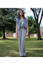 silver Necessary Objects pants - blue DIY vest - black vintage boots - red vinta