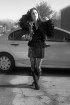 black Nine West jacket - black BCBG skirt - black Five Below tights - black unkn