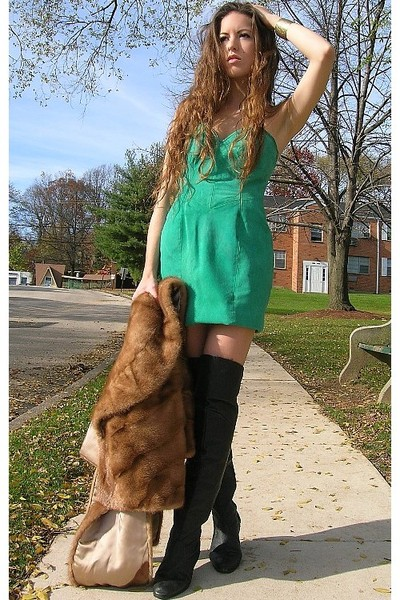 black over the knee vintage boots - green vintage dress - brown vintage coat