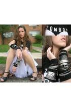 vintage shirt - vintage skirt - vintage bra - vintage shoes - Forever 21 bracele