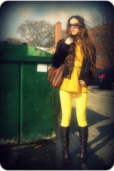 brown vintage jacket - yellow Forever 21 shirt - yellow F&F leggings - yellow vi