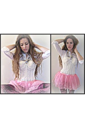 white Forever 21 shirt - white vintage bra - pink vintage skirt - pink dollar st