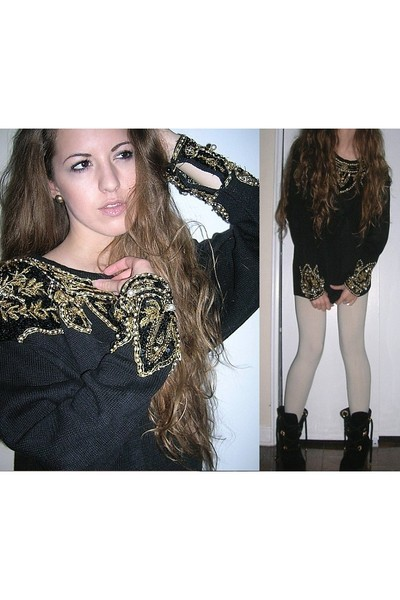 vintage sweater - Forever 21 leggings - vintage shoes