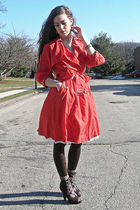 white tutu vintage skirt - brown unknown shoes - orange W Doubleudot coat