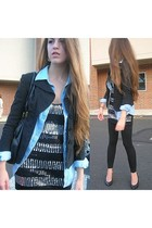 Bisou Bisou blazer - vintage shirt - say what shirt - Forever 21 leggings - vint