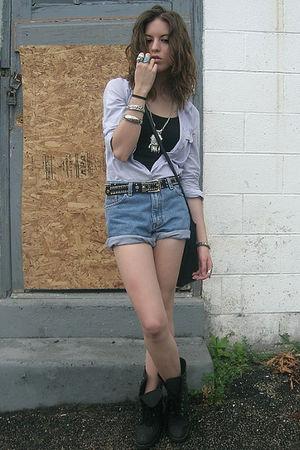 silver Forever 21 necklace - black vintage boots - black Forever 21 shirt