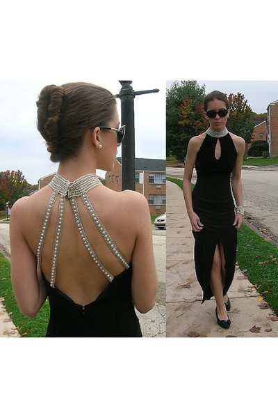 black vintage dress - black vintage shoes - black Claires sunglasses