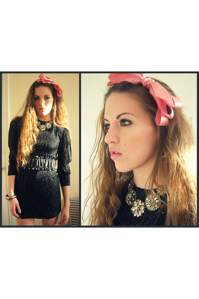 black vintage dress - black Forever 21 belt - pink Forever 21 accessories - silv