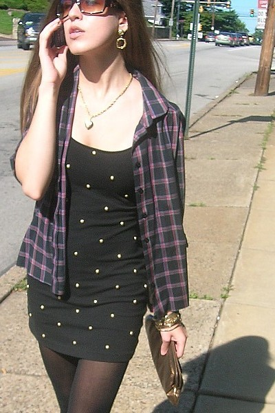vintage dress - vintage shirt - Forever 21 tights - Charlotte Russe shoes - vint