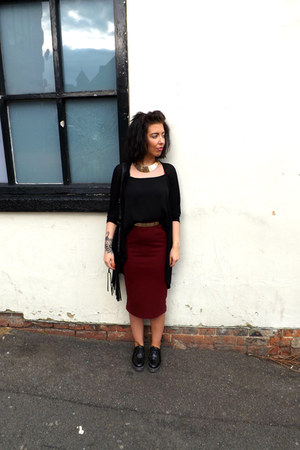 brick red red Primark skirt - black Topshop top