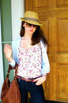 white unknown shirt - blue Gap cardigan - hat - brown Forever 21 sunglasses