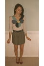 Beige-field-flower-cardigan-green-vintage-skirt-blue-vintage-belt-pink-sho
