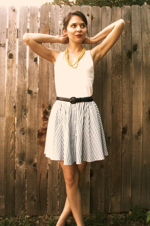 blue skirt - white Gap top - yellow necklace - blue belt - blue margaret smith p