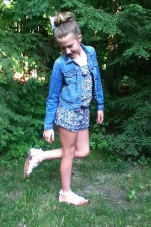 blue jean jacket Gap jacket - black floral romper H&M romper - white sandals