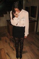 beige shirt shirt - black Skirt skirt