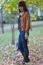 butter leather Gorman jacket - Mimco boots - acne jeans