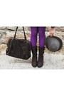Dark-brown-zara-jacket-charcoal-gray-vintage-hat-purple-calzedonia-tights