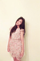 dark brown Rayban browny leopard glasses - light pink Vintage flower dress dress