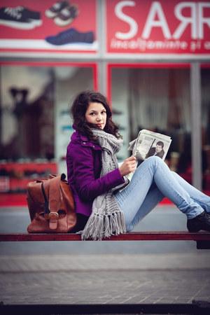 Denim Co jeans - purple Bershka jacket - H&M scarf