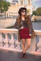 brick red skirt - dark brown asos boots - brown blouse