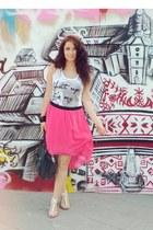 bubble gum Vero Moda skirt - black pieces bag - white Terranova t-shirt