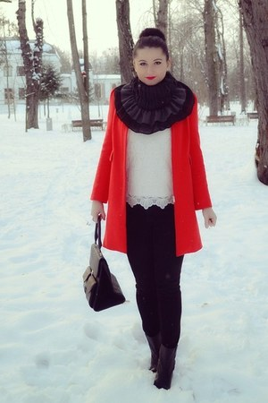 black H&M jeans - red Zara coat - white Orsay sweater - black pieces bag
