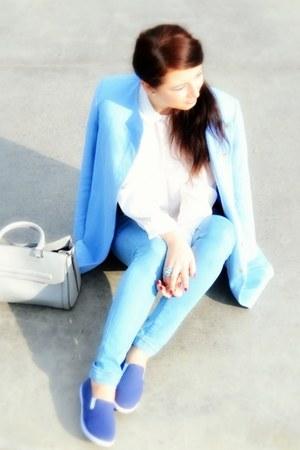 sky blue Zara coat - sky blue Bershka jeans - white romwe shirt