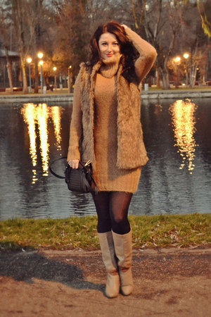 light brown Bershka vest - tan Stradivarius boots - camel Zara dress
