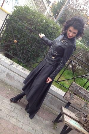 black leather jacket - black tights - black heels - black skirt