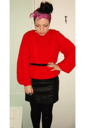 red handmade jumper - black H&M dress - black H&M belt - pink Max C scarf - red