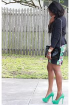 black kohls dress - black H&M blazer - teal Charlotte Russe pumps