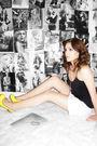 Yellow-fashion-metro-shoes-black-rainbow-shirt-rue-21-skirt