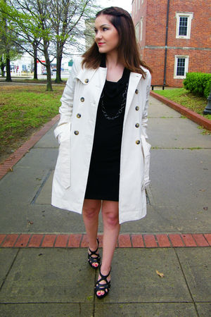 black thrifted dress - thrifted coat - black rainbow shoes - Forever 21 accessor