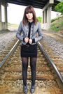 black Wet Seal dress - Forever 21 shoes - gray Forever 21 jacket