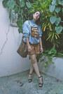 Heather-gray-oversized-romwe-sweater-dark-brown-bucket-vintage-bag