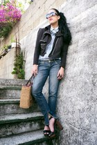 charcoal gray basic Ana Gonzlez jeans - periwinkle vintage shirt