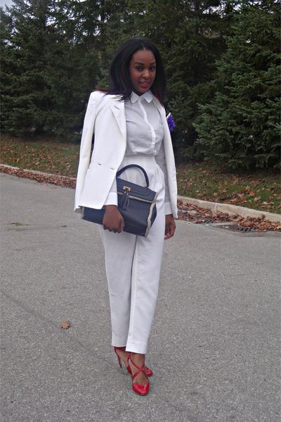 Costa Blanca blazer - white shift H&M blouse - high-waisted vintage pants