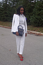 Costa Blanca blazer - white shift H&M blouse - high-waisted vintage pants