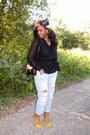 Boyfriend-zara-jeans-vintage-blouse-yellow-satin-zara-heels