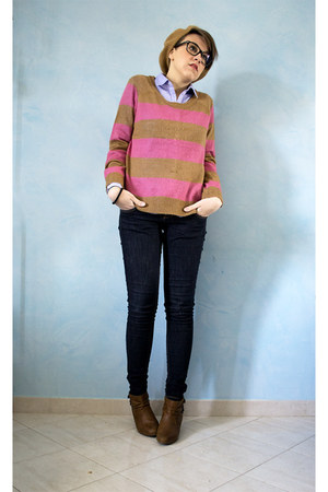 hot pink H&M sweater - camel Pull and Bear boots - camel H&M hat