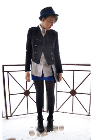 black H&amp;M blazer - black Secondhand bag - blue H&amp;M shorts